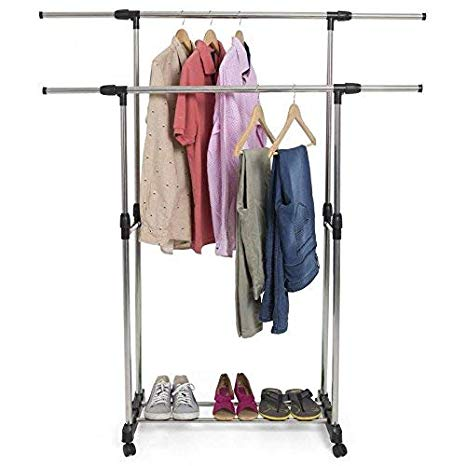 Double Pole Cloth Rack – Stainless Steel
