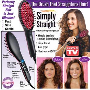 Simply Straight Ceramic Hair Straightening Brush – (Hair Straightener)